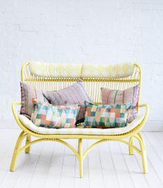 Rattan Slouch Couch Lemon