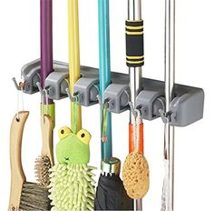 Versatile and Handy. InaRock Wall Mounted Mop and Broom Holder provide a solution to clean and organize your garage, garden, kitchen, laundry, offices and everywhere you want. It is strong, sturdy, long lasting and weatherproof Easy release design. Simply by lifting the handle, the rolling balls automatically adjust to each handle's thickness and grip it securely. So there is no worry that the tools will drop to the floor Retractable. There are 5 ball slots and 6 hooks