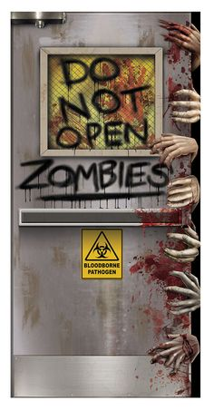 A great decorative item for the front of your home or some inner door that the guests of your Halloween party might see! Really shows your sense of humour! Shows laboratory door with hands all over tr