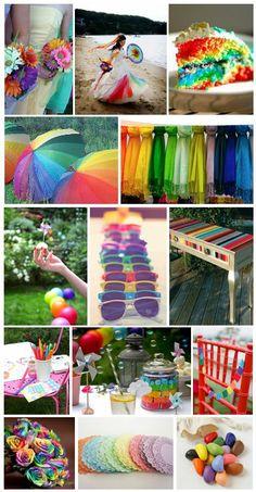 rainbow wedding dress | Rainbow wedding! AWESOME! I would like to have a wedding like that!