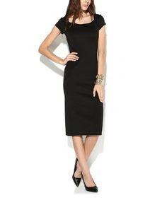Look what I found on #zulily! Black Square-Neck Midi Dress #zulilyfinds
