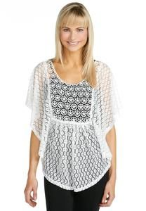 Lace and Crochet butterfly sleeve shirt from Cato...my absolute favorite store for us big girls!! :)  Any color cami would look great underneath this top.  Paired with capri length jeggings and flat sandals, that summer casual outfit will make you stand out!