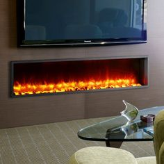 Wade Logan Belden Built-in LED Wall Mount Electric Fireplace Insert Wall Mounted Fireplace, Paint Fireplace, Fireplace Tv Stand, Concrete Fireplace, Fireplace Hearth, Marble Fireplaces, Fireplace Inserts, Wall Mounted Tv, Fireplace Design