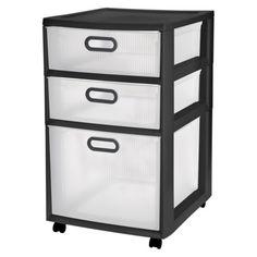 "Sterilite Ultra 3 Drawer Storage Cart, 3612 - Black, Dimensions: 18"" L x 16"" W x 26 1/4"" H, $24.99"