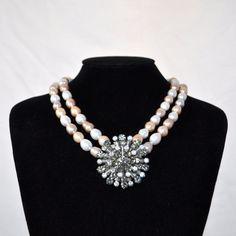 Vintage Brooch Blush Pearl Bridal Necklace  Laurel by BridalBlu, $46.00