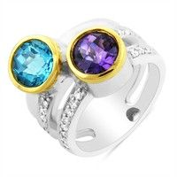 Sterling Silver Blue Topaz, Amethyst Diamond Ring