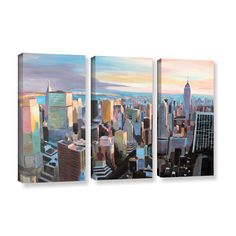 New York City Skyline in Sunlight by Marcus/Martina Bleichner 3 Piece Painting Print on Gallery Wrapped Canvas Set