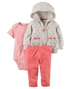 Designed for all-day play, dressing is easy with this ready-to-wear matching set. Featuring a zip-up French terry jacket and cozy pants, this 3-piece set is complete with a coordinating cotton bodysuit.