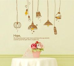 Wall stickers - Hanging Lamps - Large reusable - Lounge / Kitchen / Hall | eBay