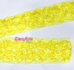 Renda de Tule bordada Amarelo sol - Pç com 1 M
