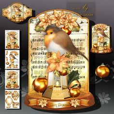 Christmas Robin Bird with Lamp decorations on Craftsuprint designed by Atlic Snezana - Christmas Robin Bird with Lamp decorations: 4 sheets for print with decoupage for 3D effect plus few sentiment tags (for your own personal text) - Now available for download!