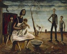 Russell Drysdale,1912–1981, Title-Sunday evening Other titles: Sunday Afternoon Year(1941) Media Painting Medium, oil on asbestos cement sheet Dimensions, 60.0 x 76.0cm board; Russell Drysdale Estate