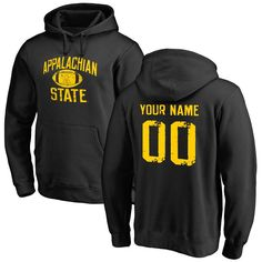 Appalachian State Mountaineers Personalized Distressed Football Pullover Hoodie - Black