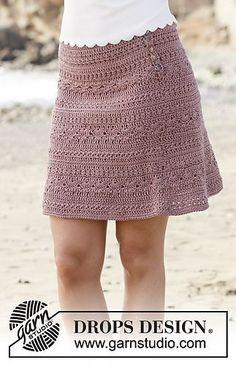 Rosalina - free crochet skirt pattern with chart by DROPS design. Size: S - XXXL Skirt Pattern Free, Crochet Skirt Pattern, Crochet Skirts, Crochet Clothes, Free Pattern, Skirt Patterns, Womens Skirt Pattern, Tutorial Crochet, Coat Patterns