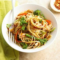 The bottled peanut sauce in this chicken, broccolini, and pasta main dish recipe saves a step and reduces preparation time to only 20 minutes./