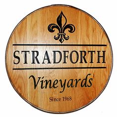 Personalized Reclaimed Wine Barrel Head with Vineyards and Fleur de Lis at Wine Enthusiast - $349.00