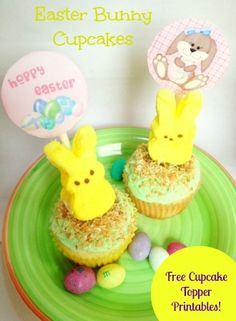 Easter Bunny Cupcakes recipe with FREE Printable cupcake topper!