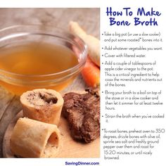 Bone broth has amazing health benefits & can be used for soup stock.