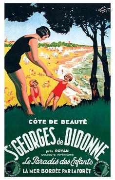 Saint-Georges-de-Didonne Cartier, Ville France, Railway Posters, Old Maps, Vintage Travel Posters, All Poster, Vintage Advertisements, Vintage Images, Friends In Love