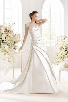 2015 Meerjungfrau Ausgefallene Moderne Brautkleider aus Taft mit Schleppe