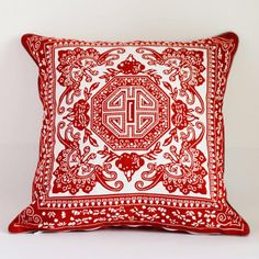 Red and white flower throw pillow Chinese style retro sofa cushions