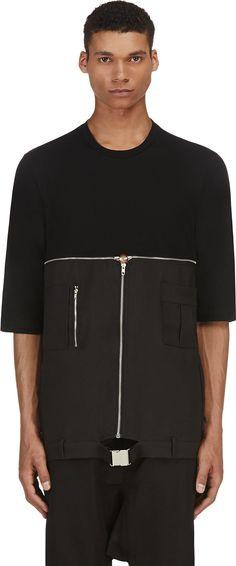 Hood by Air - Black Layered Zipper T-Shirt | SSENSE