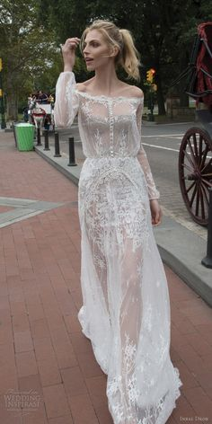 inbal dror 2016 wedding dress with off shoulder illusion blouson bodice long sleeve bishop lace a line wedding dress style 07