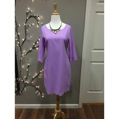 Gorgeous lavender scalloped dress! We love it paired with statement jewelry!