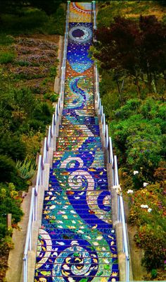 Places to visit in San Francisco. Golden Gate Heights Avenue) Mosaic St… AA Places to visit in San Francisco. Golden Gate Heights Avenue) Mosaic Stairway and Grandview Park AAA Oh The Places You'll Go, Places To Travel, Travel Destinations, Places To Visit, Grandview Heights, Visiter San Francisco, Escalier Art, Voyage Usa, Travel Tips