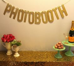 "Gold Glitter ""PHOTOBOOTH"" Banner Garland - perfect for weddings & parties. $40.00, via Etsy."