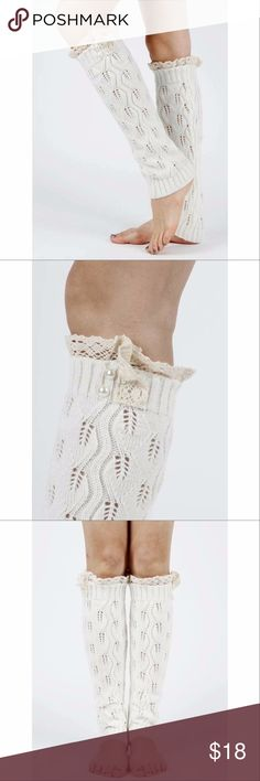 White Lace & Pearl leg warmers White Knitted Leg Warmer with cream lace edge and accent pearls   100% ACRYLIC  #bootsocks #legwarmers #fall #winter #bootaccessory Happy Organics Boutique Accessories Hosiery & Socks