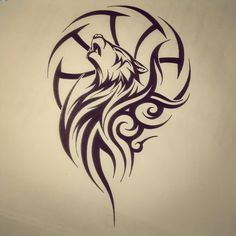 Tribal Wolf Dream Catcher Tattoo Poster