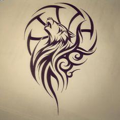 Tribal Wolf Dream Catcher Tattoo Poster