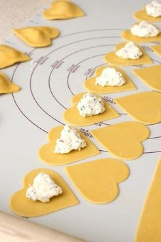 heart shaped ravioli for a special dinner - perfect for an anniversary or valentines dinner.