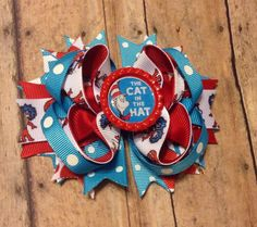 Dr. Seuss Inspired Hair bow birthday  The Cat In by BBgiftsandmore