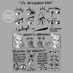 Art tutorials by Disney artists Griz and Norm Lemay How To Draw Eyebrows, Art Reference Poses, Drawing Reference, Face Reference, Anatomy Reference, Drawing Techniques, Drawing Tips, Drawing Skills, Figure Drawings