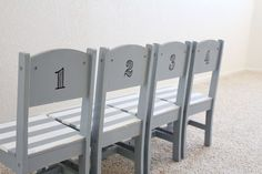 stenciled kids chairs!