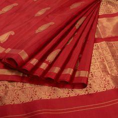 Subhashini Red Handwoven Kanjivaram Silk Saree With Paisley Motifs 10008637 - AVISHYA.COM