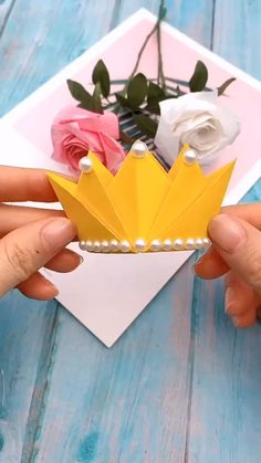 crafts with paper Origami Tutorial DIY Crown Paper Flowers Craft, Paper Crafts Origami, Paper Crafts For Kids, Origami Gifts, Gift Flowers, Origami Paper Art, Fabric Crafts, Diy Crafts Hacks, Diy Crafts For Gifts
