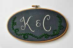 Custom Monogram. Oval 5x9 Embroidery Hoop Art Home by KimArt