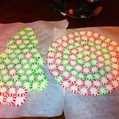 Peppermint Serving Trays! Preheat 350. Arrange mints on lined cookie sheet. Bake until just melted, about 9-10 min. Let cool completely and store at room temperature, covered.The candies after melting. You can give them a texture while they're still warm. For candy ornament, check after 2-3 min. Spray the tip of a skewer and poke a hole in the top of the candy cane right after it comes out of the oven if you want to hang it on the tree.