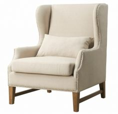 "TOV Furniture TOVC36 Devon Series 34"" Wing Living Room Chairs Beige"