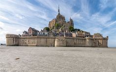 Download wallpapers Le Mont Saint-Michel, island, fortress, small rocky island, France