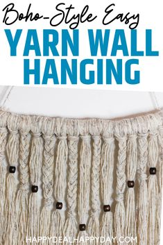 Simple Yarn Wall Hanging Tutorial - learn how to make a boho style wall hanging with driftwood, yarn and wooden beads! How To Make Paper Flowers, Yarn Wall Hanging, Diy Apartment Decor, Repurposed Items, Fall Diy, Cool Diy Projects, Spring Crafts, Handmade Crafts, Decorating Your Home