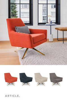 Swirl your cocktail with an arched eyebrow. Enjoy the security of solid-wood construction. Old school looks good on you. #LivingRoom #LivingRoomFurniture #LoungeChair #InteriorInspo #InteriorDesign Lounge Chair, Chair, Outdoor Chairs, Orange Chair, Furniture, Lounge, Interior Inspo, Home Decor, Living Room Furniture