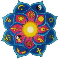 Universal Worship Lotus .   A Mandala of symbols of 16 of the world's spiritual traditions
