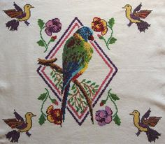 Vintage Embroidered Large Pillow cover Tablecloth Wall hanging Parrot Birds Square Counted Cross stitch by VintageHomeStories on Etsy Large Pillow Covers, Large Pillows, Outdoor Couch, Parrot Bird, Cottage Chic, Decoration, Crochet, Embroidery Patterns, Cross Stitch