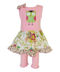 Pink & Green Owl Dress & Leggings - Infant, Toddler & Girls #zulily #zulilyfinds