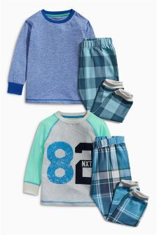 BNWT Boys Sz 4 Long Pale Blue Flannel Style Cool Robots Print Pyjamas