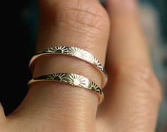 sun ring solid gold ring sterling silver ring dainty gold ring hand stamped 10k ring solid 14k gold ring delicate gold band SUNSHINE RING